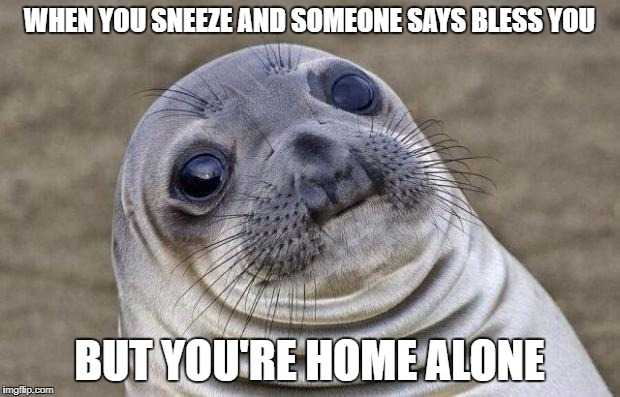 Well, I guess it's time to move (Ghost Week Jan. 21-27...A LaurynFlint Event) | WHEN YOU SNEEZE AND SOMEONE SAYS BLESS YOU BUT YOU'RE HOME ALONE | image tagged in memes,awkward moment sealion,ghost week,funny | made w/ Imgflip meme maker