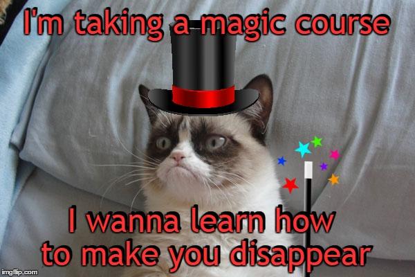 Alternate version. | I'm taking a magic course I wanna learn how to make you disappear I'm taking a magic course I wanna learn how to make you disappear | image tagged in memes,grumpy cat bed,grumpy cat,grumpy cat insults,agrumpycatdabra,a magician never reveals his tricks | made w/ Imgflip meme maker