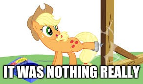 applejack hammer hoof | IT WAS NOTHING REALLY | image tagged in applejack hammer hoof | made w/ Imgflip meme maker