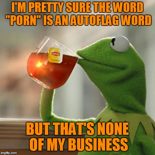 "But Thats None Of My Business Meme | I'M PRETTY SURE THE WORD ""PORN"" IS AN AUTOFLAG WORD BUT THAT'S NONE OF MY BUSINESS 