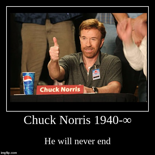 Chuck Norris 1940-∞ | He will never end | image tagged in funny,demotivationals | made w/ Imgflip demotivational maker