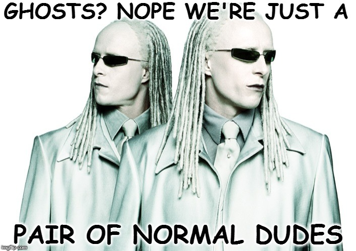 Matrix xirtaM  re-reloaded ghost tsohg twins twins  | GHOSTS? NOPE WE'RE JUST A PAIR OF NORMAL DUDES | image tagged in ghost week,the matrix,ghost,memes,funny | made w/ Imgflip meme maker