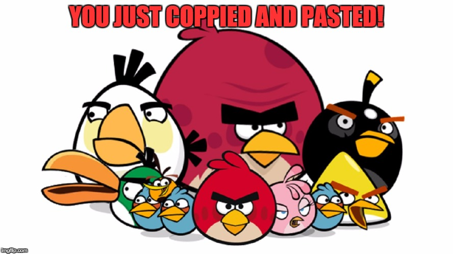 Varry Angry Birds | YOU JUST COPPIED AND PASTED! | image tagged in varry angry birds | made w/ Imgflip meme maker