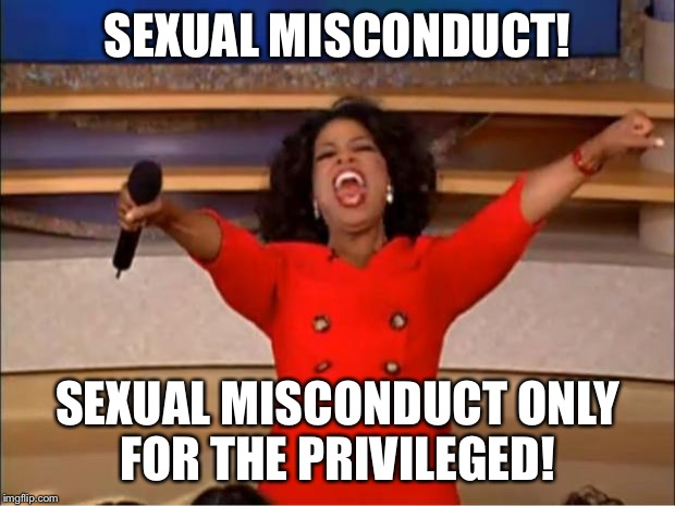 Oprah You Get A Meme | SEXUAL MISCONDUCT! SEXUAL MISCONDUCT ONLY FOR THE PRIVILEGED! | image tagged in memes,oprah you get a | made w/ Imgflip meme maker