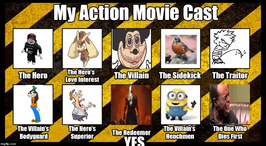 My Action Movie Cast | YES | image tagged in me,lopunny,mokey,calvin,robin,minions | made w/ Imgflip meme maker