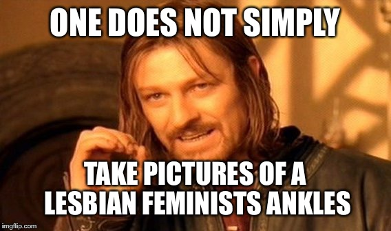 One Does Not Simply Meme | ONE DOES NOT SIMPLY TAKE PICTURES OF A LESBIAN FEMINISTS ANKLES | image tagged in memes,one does not simply | made w/ Imgflip meme maker