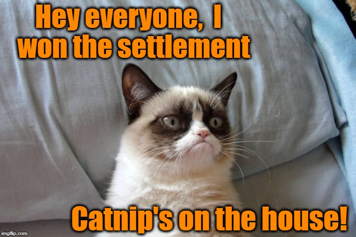 Grumpy Cat's owner won a $700,000 settlement over illegal use of her name | Hey everyone,  I  won the settlement Catnip's on the house! | image tagged in grumpy's rich,justice | made w/ Imgflip meme maker