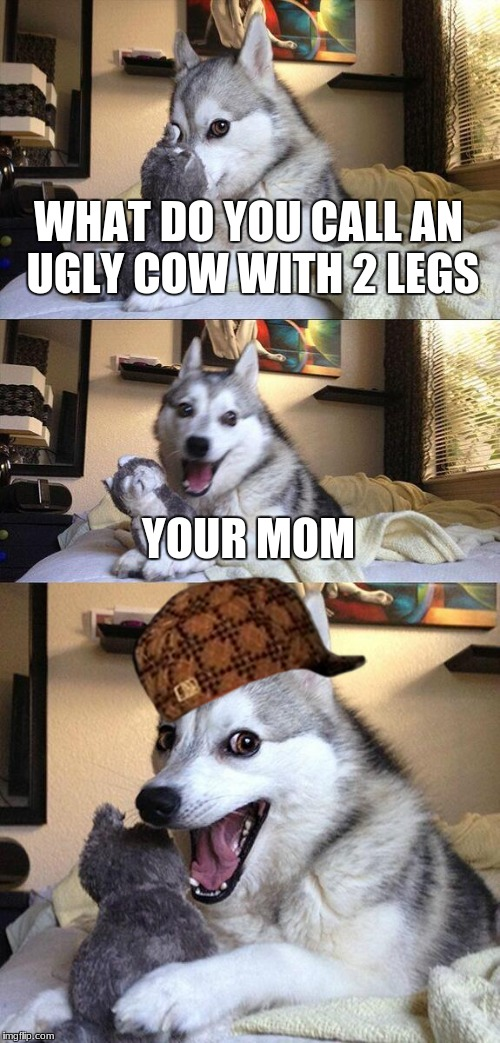 Bad Pun Dog Meme | WHAT DO YOU CALL AN UGLY COW WITH 2 LEGS YOUR MOM | image tagged in memes,bad pun dog,scumbag | made w/ Imgflip meme maker