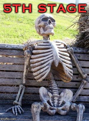Waiting Skeleton Meme | 5TH STAGE | image tagged in memes,waiting skeleton | made w/ Imgflip meme maker