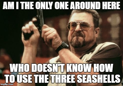 Am I The Only One Around Here Meme | AM I THE ONLY ONE AROUND HERE WHO DOESN'T KNOW HOW TO USE THE THREE SEASHELLS | image tagged in memes,am i the only one around here | made w/ Imgflip meme maker