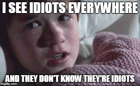 I See Dead People Meme | I SEE IDIOTS EVERYWHERE AND THEY DON'T KNOW THEY'RE IDIOTS | image tagged in memes,i see dead people | made w/ Imgflip meme maker