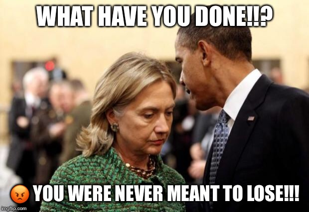 obama and hillary | WHAT HAVE YOU DONE!!?  | image tagged in obama and hillary | made w/ Imgflip meme maker