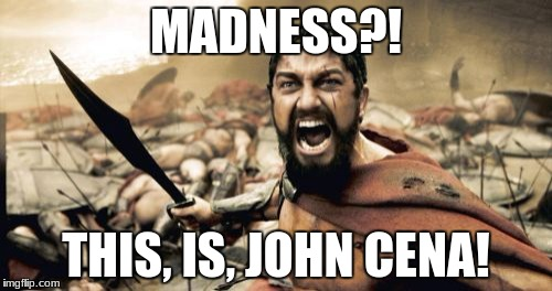 Sparta Leonidas Meme | MADNESS?! THIS, IS, JOHN CENA! | image tagged in memes,sparta leonidas | made w/ Imgflip meme maker
