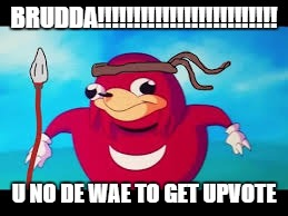 BRUDDA!!!!!!!!!!!!!!!!!!!!!!!!! U NO DE WAE TO GET UPVOTE | made w/ Imgflip meme maker