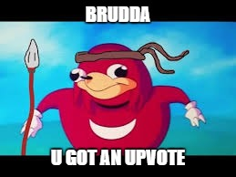BRUDDA U GOT AN UPVOTE | made w/ Imgflip meme maker