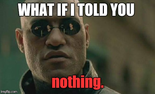 Matrix Morpheus Meme | WHAT IF I TOLD YOU nothing. | image tagged in memes,matrix morpheus | made w/ Imgflip meme maker