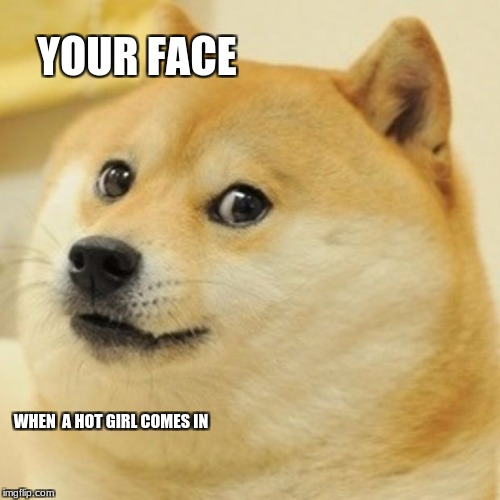 Doge Meme | YOUR FACE WHEN  A HOT GIRL COMES IN | image tagged in memes,doge | made w/ Imgflip meme maker