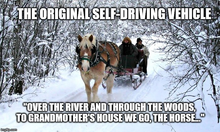 "You know the rest. | THE ORIGINAL SELF-DRIVING VEHICLE ""OVER THE RIVER AND THROUGH THE WOODS, TO GRANDMOTHER'S HOUSE WE GO, THE HORSE..."" 