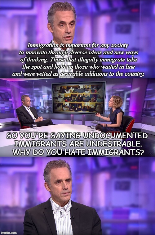 So You're Saying... | Immigration is important for any society to innovate through diverse ideas and new ways of thinking. Those that illegally immigrate take the | image tagged in jordan peterson vs feminist interviewer,hate,sjw,illegal immigrants,immigration | made w/ Imgflip meme maker