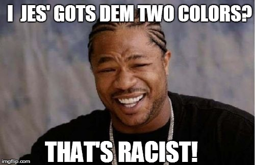 Yo Dawg Heard You Meme | THAT'S RACIST! I  JES' GOTS DEM TWO COLORS? | image tagged in memes,yo dawg heard you | made w/ Imgflip meme maker