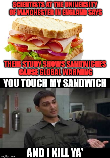 So Now Sandwiches Are Going To Destroy The Earth | SCIENTISTS AT THE UNIVERSITY OF MANCHESTER IN ENGLAND SAYS AND I KILL YA' THEIR STUDY SHOWS SANDWICHES CAUSE GLOBAL WARMING YOU TOUCH MY SAN | image tagged in global warming sandwich,memes,full retard,francis,what if i told you,global warming | made w/ Imgflip meme maker