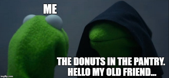 Evil Kermit Meme | ME THE DONUTS IN THE PANTRY. HELLO MY OLD FRIEND... | image tagged in memes,evil kermit | made w/ Imgflip meme maker