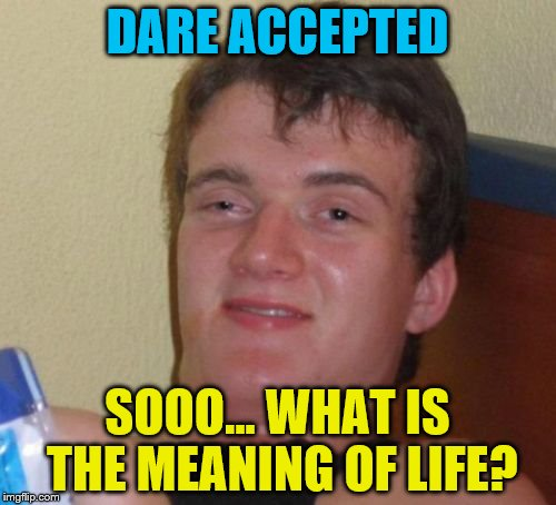 10 Guy Meme | DARE ACCEPTED SOOO... WHAT IS THE MEANING OF LIFE? | image tagged in memes,10 guy | made w/ Imgflip meme maker
