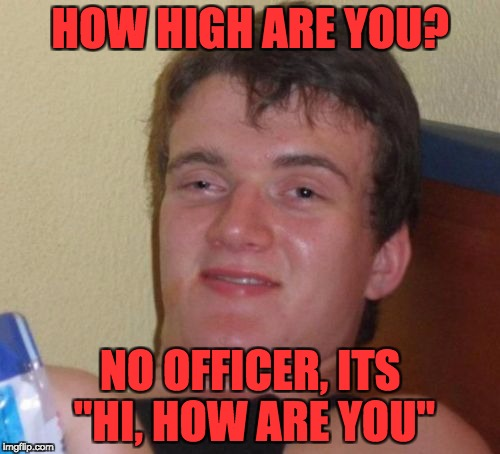 "10 Guy Meme | HOW HIGH ARE YOU? NO OFFICER, ITS ""HI, HOW ARE YOU"" 