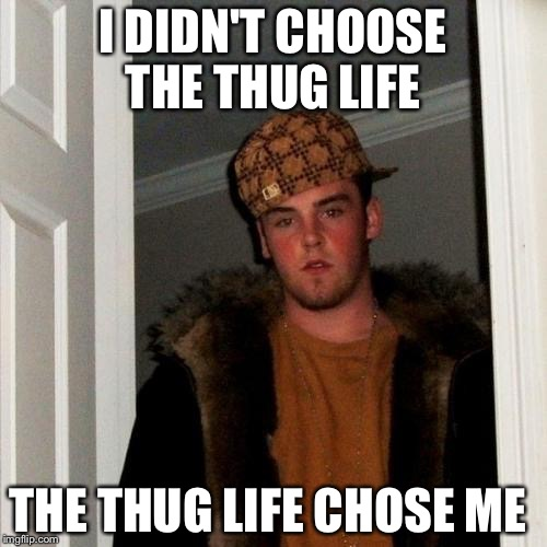 Scumbag Steve Meme | I DIDN'T CHOOSE THE THUG LIFE THE THUG LIFE CHOSE ME | image tagged in memes,scumbag steve | made w/ Imgflip meme maker
