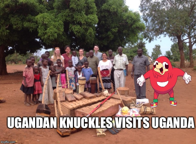 Knuckle sandwich | UGANDAN KNUCKLES VISITS UGANDA | image tagged in ugandan knuckles | made w/ Imgflip meme maker