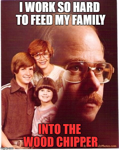 Vengeance Dad | I WORK SO HARD TO FEED MY FAMILY INTO THE WOOD CHIPPER | image tagged in memes,vengeance dad | made w/ Imgflip meme maker