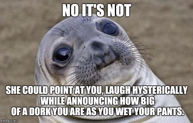 Awkward Moment Sealion Meme | NO IT'S NOT SHE COULD POINT AT YOU, LAUGH HYSTERICALLY WHILE ANNOUNCING HOW BIG OF A DORK YOU ARE AS YOU WET YOUR PANTS. | image tagged in memes,awkward moment sealion | made w/ Imgflip meme maker