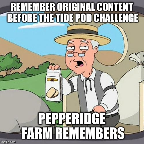 Back in my day... | REMEMBER ORIGINAL CONTENT BEFORE THE TIDE POD CHALLENGE PEPPERIDGE FARM REMEMBERS | image tagged in pepperidge farm remembers,tide pod challenge,original meme,over it | made w/ Imgflip meme maker