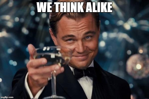 Leonardo Dicaprio Cheers Meme | WE THINK ALIKE | image tagged in memes,leonardo dicaprio cheers | made w/ Imgflip meme maker