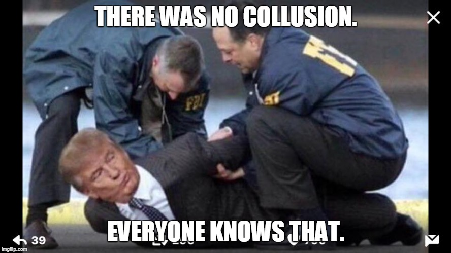 No Collusion | THERE WAS NO COLLUSION. EVERYONE KNOWS THAT. | image tagged in trump arrested,collusion,trump russia collusion,trump,fbi | made w/ Imgflip meme maker