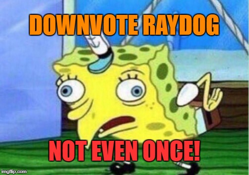 Mocking Spongebob Meme | DOWNVOTE RAYDOG NOT EVEN ONCE! | image tagged in memes,mocking spongebob | made w/ Imgflip meme maker