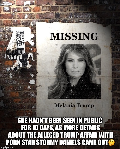 Melania Trump | SHE HADN'T BEEN SEEN IN PUBLIC FOR 10 DAYS, AS MORE DETAILS ABOUT THE ALLEGED TRUMP AFFAIR WITH PORN STAR STORMY DANIELS CAME OUT | image tagged in melania trump,stormy daniels,donald trump,missing | made w/ Imgflip meme maker