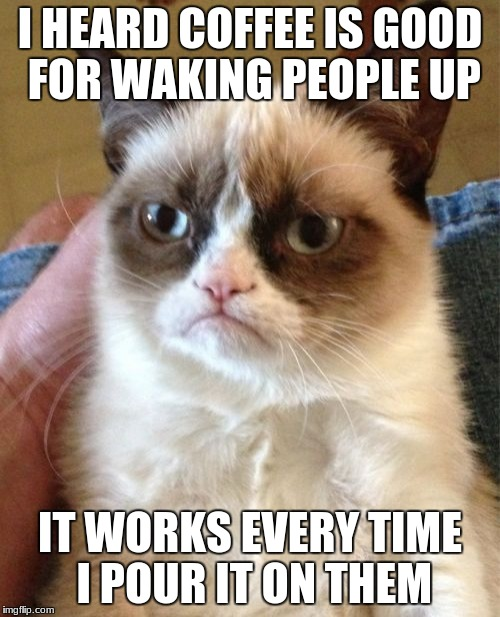 Grumpy Cat |  I HEARD COFFEE IS GOOD FOR WAKING PEOPLE UP; IT WORKS EVERY TIME I POUR IT ON THEM | image tagged in memes,grumpy cat | made w/ Imgflip meme maker
