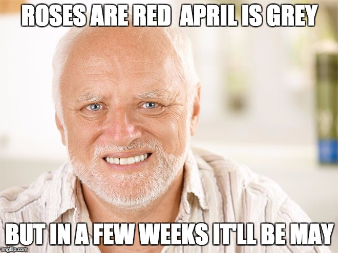 ROSES ARE RED  APRIL IS GREY BUT IN A FEW WEEKS IT'LL BE MAY | image tagged in pained smile man | made w/ Imgflip meme maker