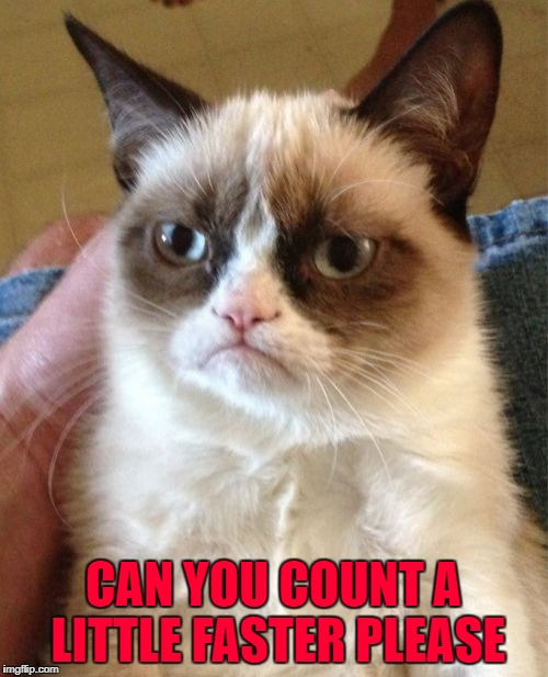 Grumpy Cat Meme | CAN YOU COUNT A LITTLE FASTER PLEASE | image tagged in memes,grumpy cat | made w/ Imgflip meme maker