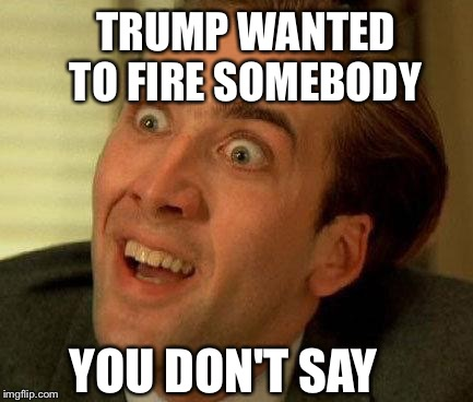 you don't say | TRUMP WANTED TO FIRE SOMEBODY YOU DON'T SAY | image tagged in you don't say | made w/ Imgflip meme maker