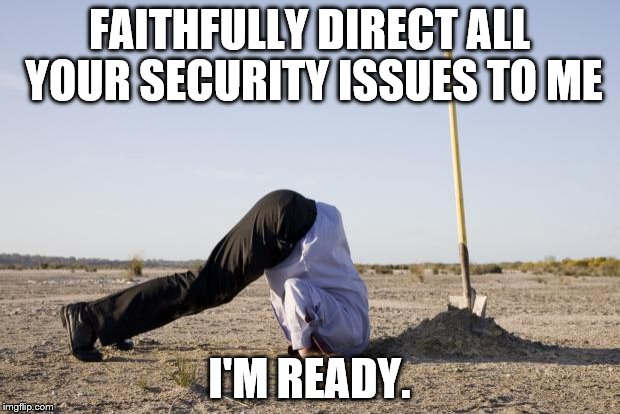 FAITHFULLY DIRECT ALL YOUR SECURITY ISSUES TO ME I'M READY. | image tagged in ignorance | made w/ Imgflip meme maker
