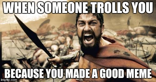Sparta Leonidas Meme | WHEN SOMEONE TROLLS YOU BECAUSE YOU MADE A GOOD MEME | image tagged in memes,sparta leonidas | made w/ Imgflip meme maker