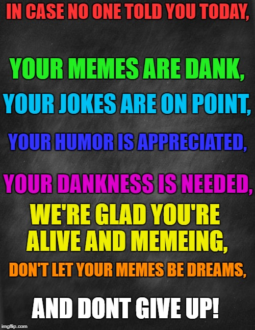 have a nice day! ; ) | IN CASE NO ONE TOLD YOU TODAY, YOUR MEMES ARE DANK, YOUR JOKES ARE ON POINT, YOUR HUMOR IS APPRECIATED, YOUR DANKNESS IS NEEDED, WE'RE GLAD  | image tagged in inspirational,go you | made w/ Imgflip meme maker