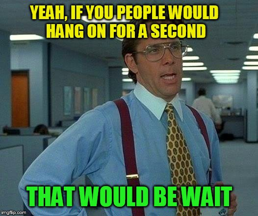 That Would Be Great Meme | YEAH, IF YOU PEOPLE WOULD HANG ON FOR A SECOND THAT WOULD BE WAIT | image tagged in memes,that would be great | made w/ Imgflip meme maker