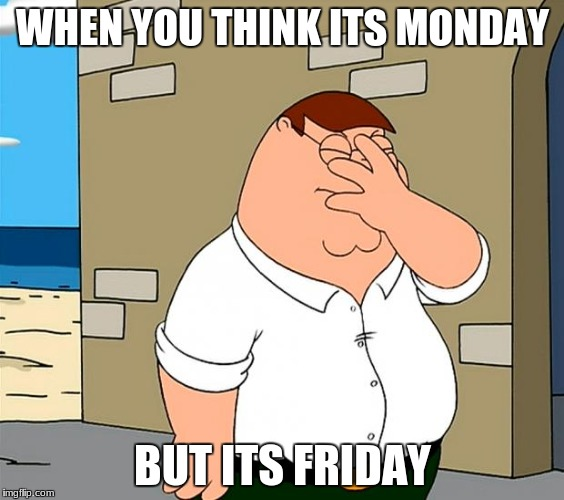 family guy face palm | WHEN YOU THINK ITS MONDAY BUT ITS FRIDAY | image tagged in family guy face palm | made w/ Imgflip meme maker