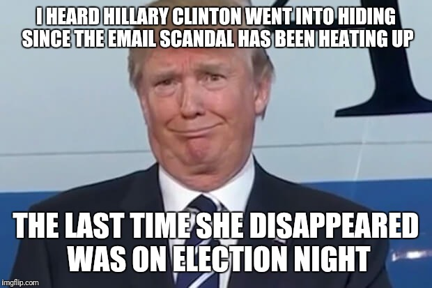donald trump | I HEARD HILLARY CLINTON WENT INTO HIDING SINCE THE EMAIL SCANDAL HAS BEEN HEATING UP THE LAST TIME SHE DISAPPEARED WAS ON ELECTION NIGHT | image tagged in donald trump | made w/ Imgflip meme maker