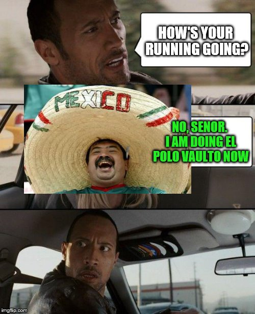 The Rock Driving Meme | HOW'S YOUR RUNNING GOING? NO, SENOR. I AM DOING EL POLO VAULTO NOW | image tagged in memes,the rock driving | made w/ Imgflip meme maker