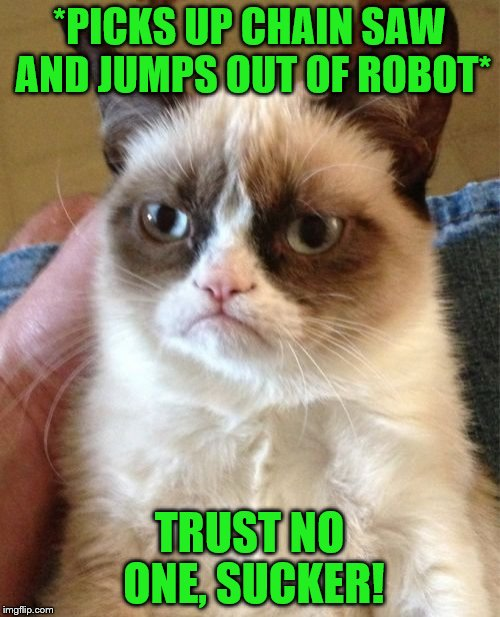 Grumpy Cat Meme | *PICKS UP CHAIN SAW AND JUMPS OUT OF ROBOT* TRUST NO ONE, SUCKER! | image tagged in memes,grumpy cat | made w/ Imgflip meme maker
