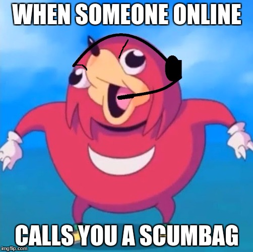 Help Desk Uganda Knuckles | WHEN SOMEONE ONLINE CALLS YOU A SCUMBAG | image tagged in help desk uganda knuckles | made w/ Imgflip meme maker